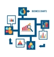 Business chart icons set vector
