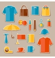 Icon set of promotional gifts and souvenirs vector