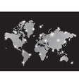 Gray pixel world map with spot lights vector