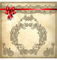 Background with red ribbon and floral ornament vector