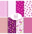 Set of eight seamless floral backgrounds vector