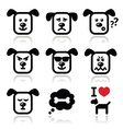 Dog icons set - happy sad angry isolated vector
