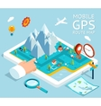 Isometric mobile gps navigation flat map vector