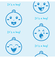 Its a boy blue seamless background with baby boys vector