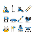 Ski and snowboard icons vector
