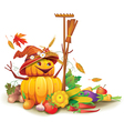 Still life of autumn harvest with a figure of vector