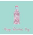 Beer bottle with hearts inside blue and pink love vector