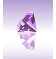 Violet diamond with reflection vector