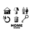 Black glossy home icons vector