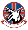 Angry trained guard dog with british flag vector