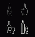 Bottle of wine and wineglasses vector