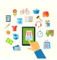 Shopping e-commerce hand concept vector
