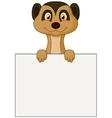 Cute meerkat cartoon holding blank sign vector