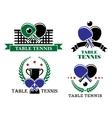 Four table tennis emblems or badges vector