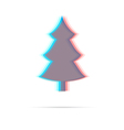 Christmas tree flat anagliph icon vector