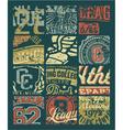 Vintage athletic department badges patchwork vector