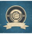 Retro volleyball emblem vector