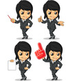 Smiling businesswoman mascot in many poses vector