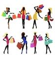 Shopping girl silhouettes vector