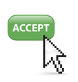 Accept button click vector