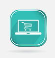 Color icon laptop with shopping cart vector