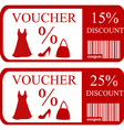 15 and 25 discount vouchers vector