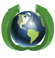 Globe and two green arrows top vector