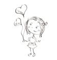 Little girl holding hearts vector