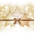 Golden star gift card with copy space vector