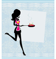 Silhouette of a woman wearing an apron and holding vector
