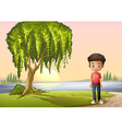 A boy standing near the giant tree vector