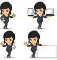 Smiling businesswoman mascot in various poses vector