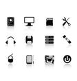 Black computer equipment icon vector