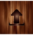 Upload icon send file wooden texture vector