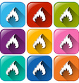 Buttons with flames vector
