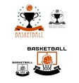 Basketball logo with balls basket trophy vector