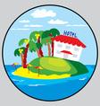Beach hotel emblem vector