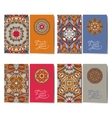 Collection of ornamental floral business cards vector