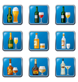 Alcohol drinks icon set buttons vector