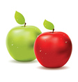 Green apple and red apple vector