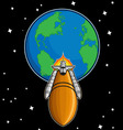 Space shuttle fly from earth vector