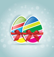 Sweet easter slices egg in different colors gift vector