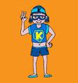 Young super hero boy cartoon and character vector