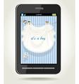 Smartphone with baby boy blue openwork vector