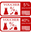 5 and 40 discount vouchers vector