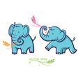 Baby elephant with leaves vector