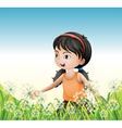 A young girl wearing an orange sando above the vector