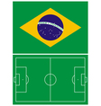 Brazil flag and soccer field vector