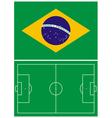 Brazil flag and soccer field vector