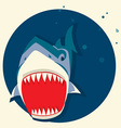 Big white shark cartoons vector